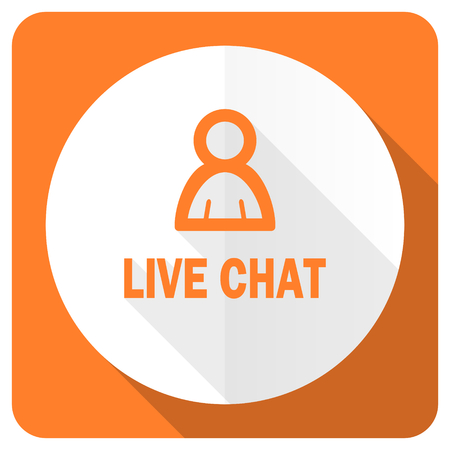 Chatter: live chat orange flat icon Stock Photo