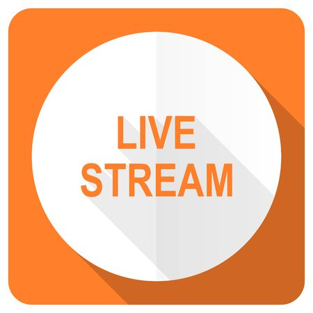 live stream: live stream orange flat icon