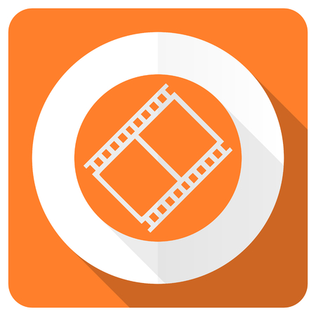 movie sign: naranja pel�cula plana icono s�mbolo de la muestra de cine cine Foto de archivo