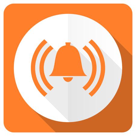 safe and sound: alarm orange flat icon alert sign bell symbol