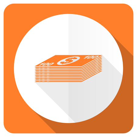 internet symbol: money orange flat icon cash symbol Stock Photo