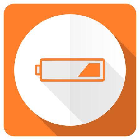 accuse: battery orange flat icon charging symbol power sign