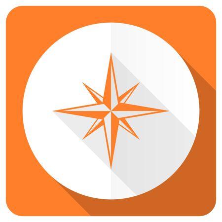 internet explorer: compass orange flat icon