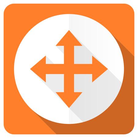 sterring: arrow orange flat icon Stock Photo