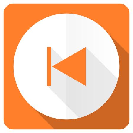 previous: previous orange flat icon