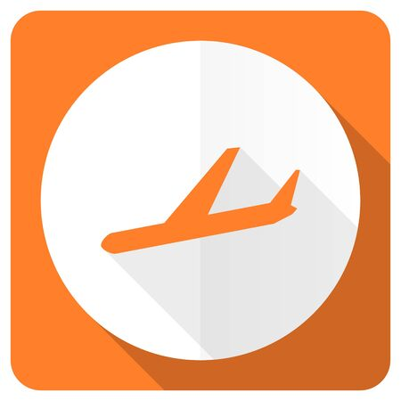 airport sign: plane orange flat icon airport sign Stock Photo
