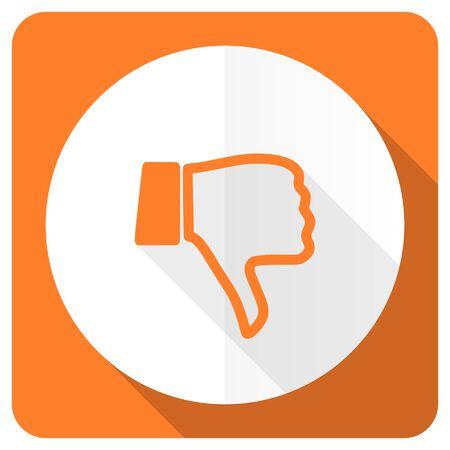 dislike orange flat icon thumb down sign