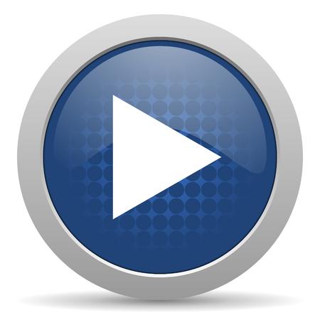 icono web: jugar icono azul brillante Web Foto de archivo