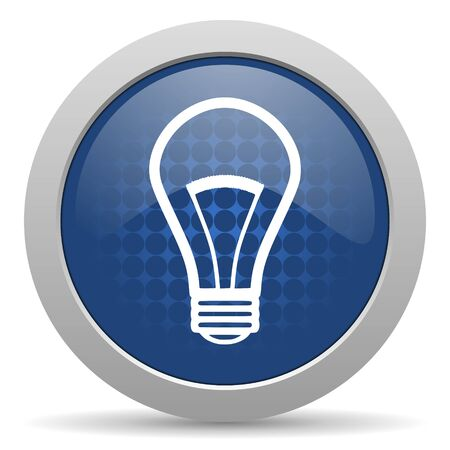 icono web: bombilla icono azul brillante Web