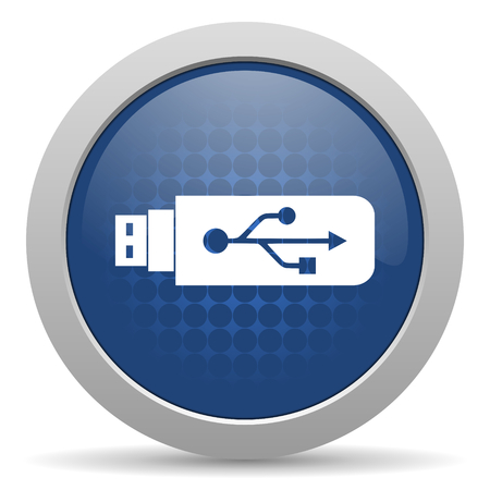 icono web: usb icono azul brillante Web Foto de archivo