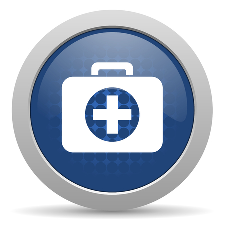 first aid blue glossy web icon photo