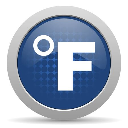 celcius: fahrenheit blue glossy web icon Stock Photo