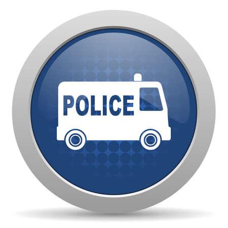 patrolman: police blue glossy web icon Stock Photo