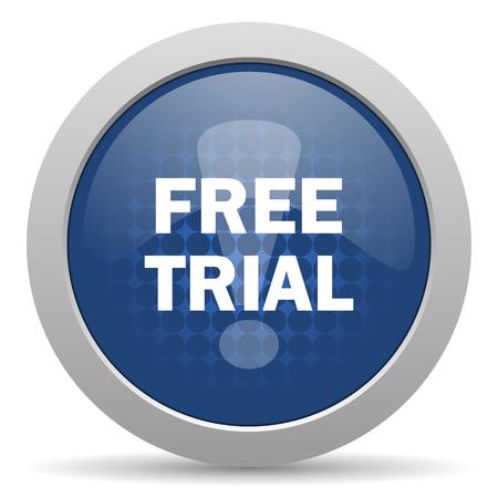 free trial blue glossy web icon photo