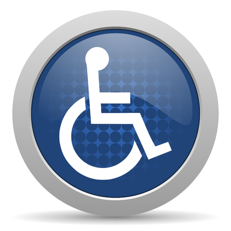 wheelchair blue glossy web icon photo