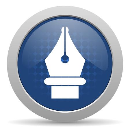icono web: icono azul brillante Web pluma