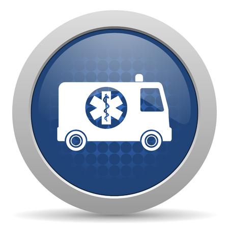 ambulancia: ambulancia icono azul brillante Web Foto de archivo