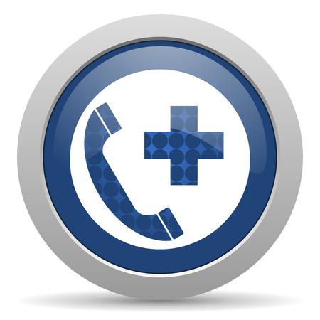 emergency call: emergency call blue glossy web icon Stock Photo