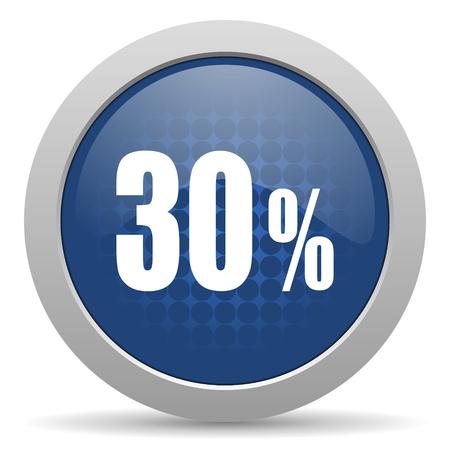 30: 30 percent blue glossy web icon Stock Photo