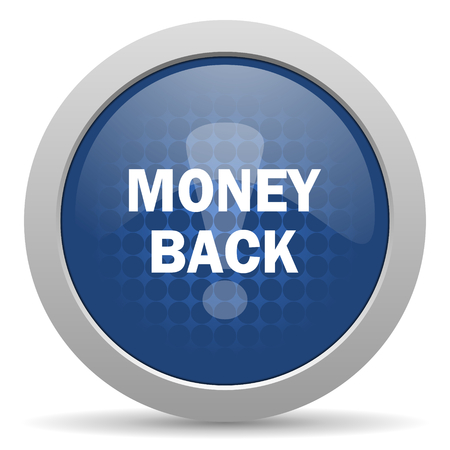 best service: money back blue glossy web icon