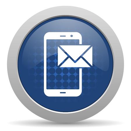 mail blue glossy web icon photo