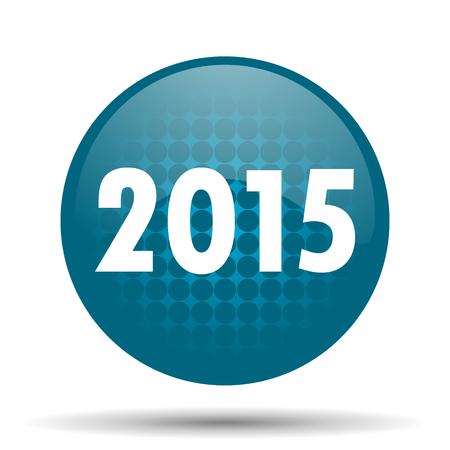new year 2015 blue glossy web icon photo