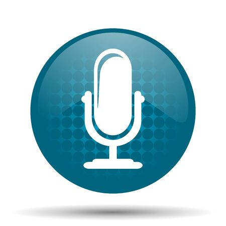 microphone blue glossy web icon photo