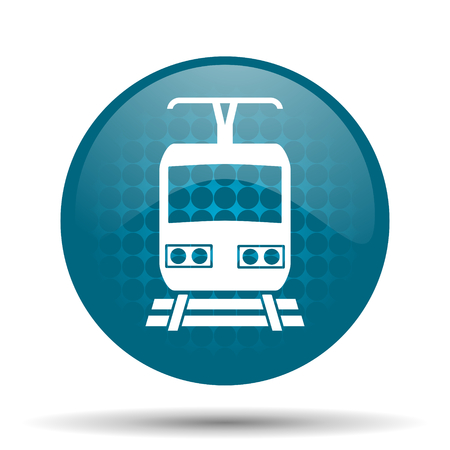train blue glossy web icon photo
