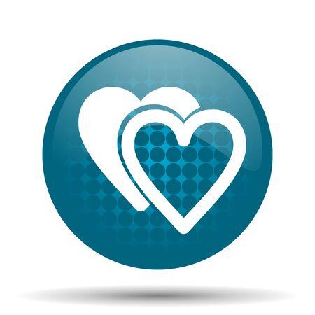 love blue glossy web icon photo