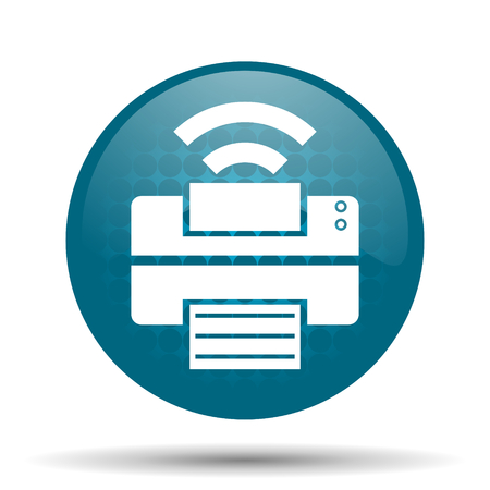 printer blue glossy web icon photo