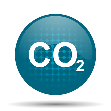 carbon dioxide: carbon dioxide blue glossy web icon