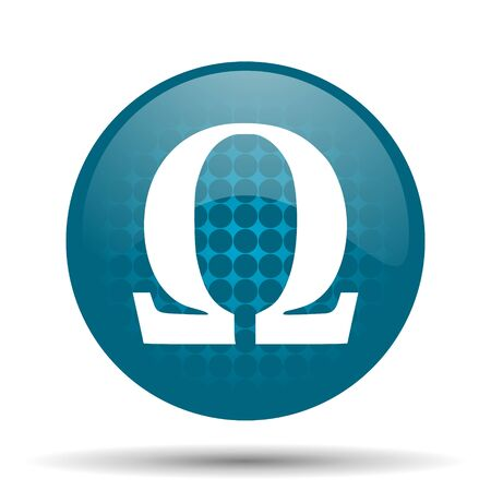 omega blue glossy web icon photo
