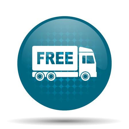 free delivery blue glossy web icon photo