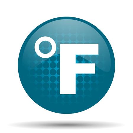 fahrenheit: fahrenheit icono azul brillante Web