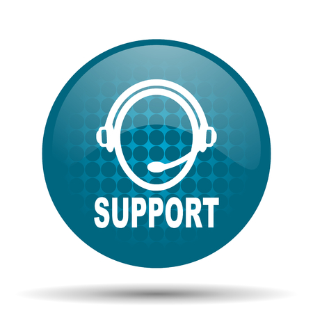 quality questions: support blue glossy web icon Stock Photo