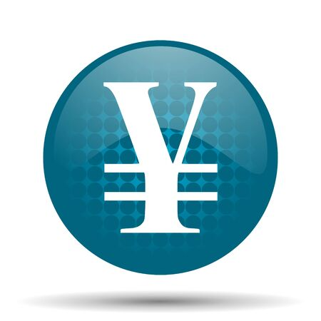 yen: yen blue glossy web icon Stock Photo