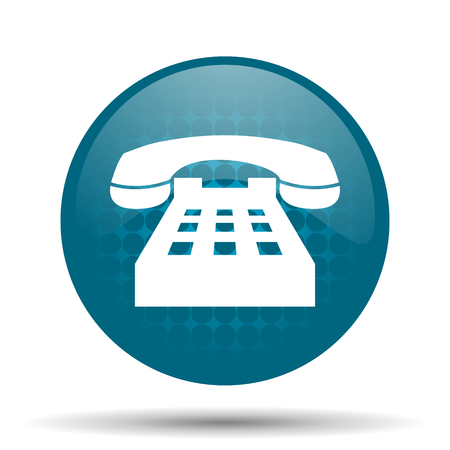 phone blue glossy web icon photo