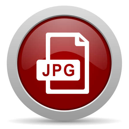 jpg: jpg file red glossy web icon Stock Photo