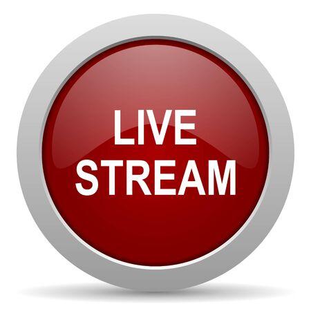 live stream tv: live stream red glossy web icon Stock Photo