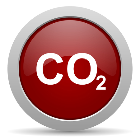 carbon dioxide: carbon dioxide red glossy web icon