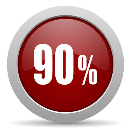 90 percent red glossy web icon photo