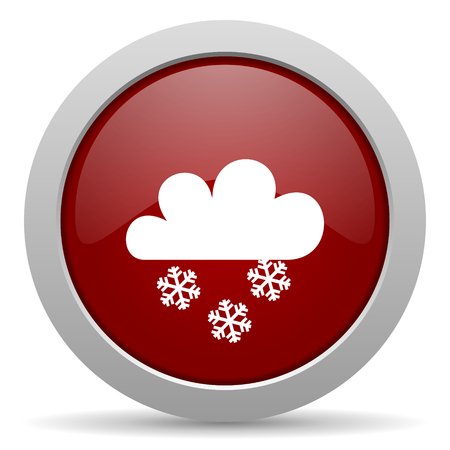 snowing: snowing red glossy web icon