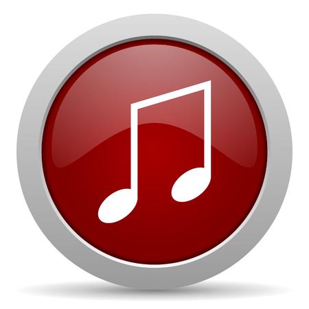 icono web: m�sica icono rojo brillante Web