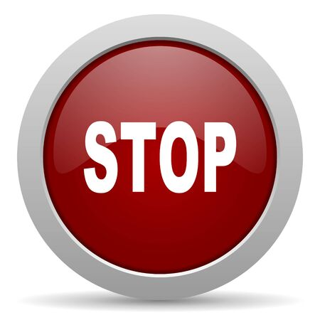proscribed: stop red glossy web icon Stock Photo