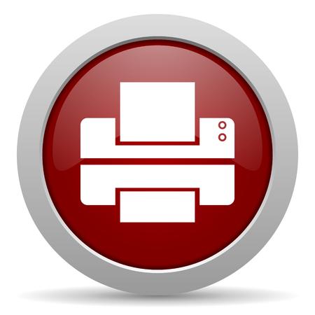 printer red glossy web icon photo
