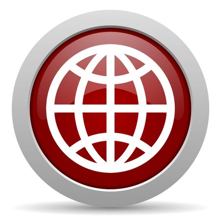 parallels: earth red glossy web icon Stock Photo