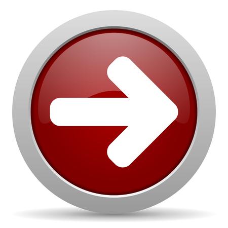 right arrow red glossy web icon photo