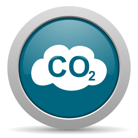 dioxide: carbon dioxide blue glossy web icon
