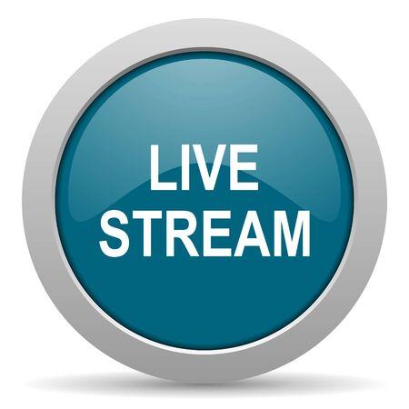 live stream: live stream blue glossy web icon
