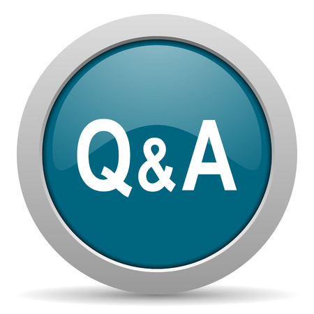 question and answer: question answer blue glossy web icon
